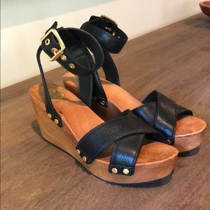 Tory Burch Wood Wedge and Black Leather Sandal